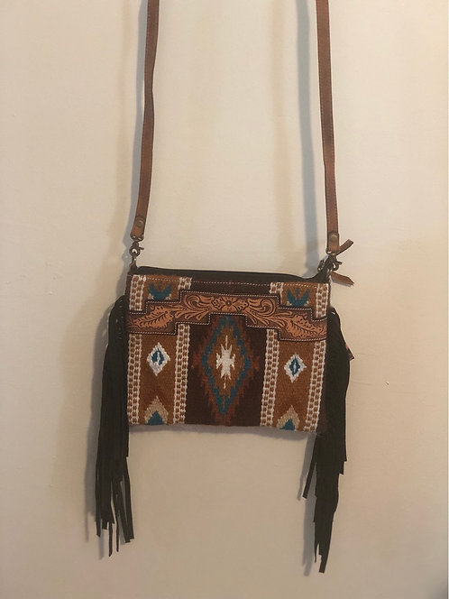 Patterned Wool Leather Top Crossbody Bag