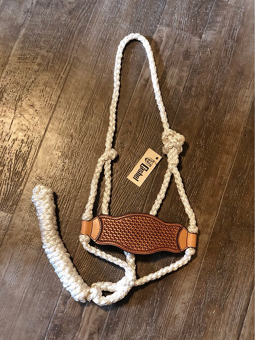 Braided Rope Halter w/ Basket stamp Leather Nose