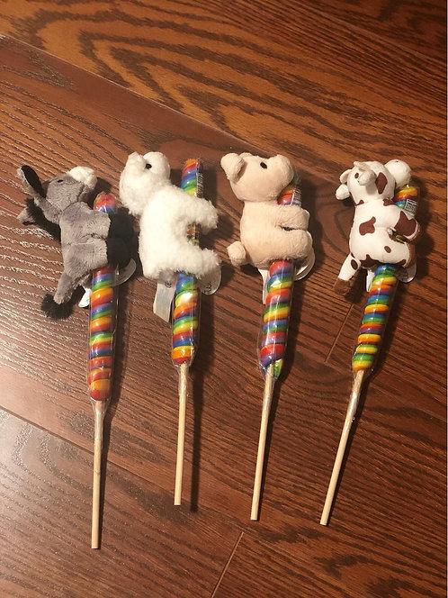 Farm Animal Stuffie with Lollipop