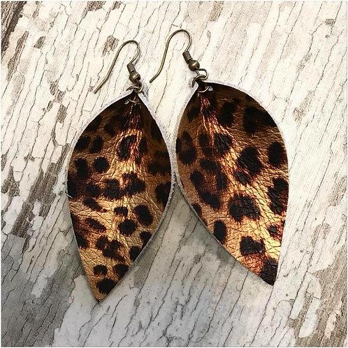 Metallic Leather Cheetah Earrings