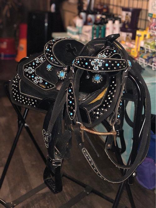 """8"""" Mini Black Saddle Set"""
