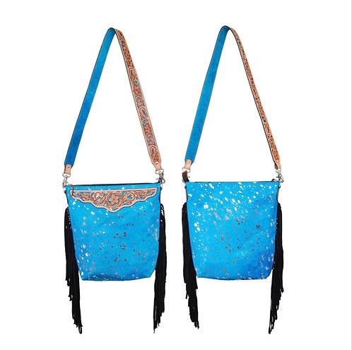 Turquoise Hair on Fringe Cross Body Bag