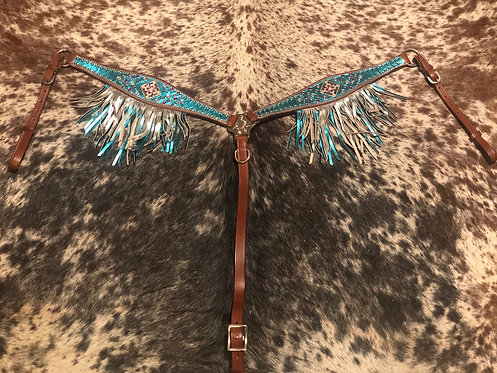 Teal and Silver Fringe Breastcollar