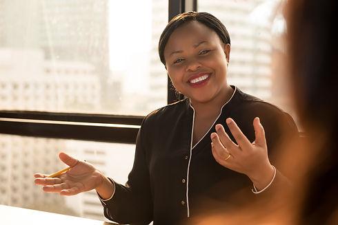 Friendly black businesswoman leader disc