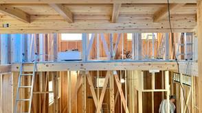 木工事と打合せ(7層スキップフロアの家)