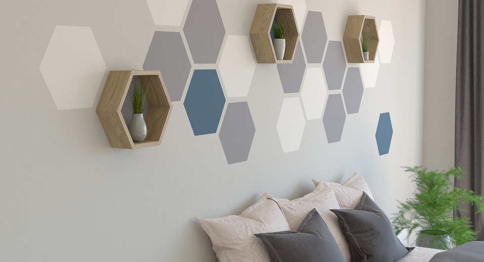 Hexagon-wall-feature-painting-hexagons-o