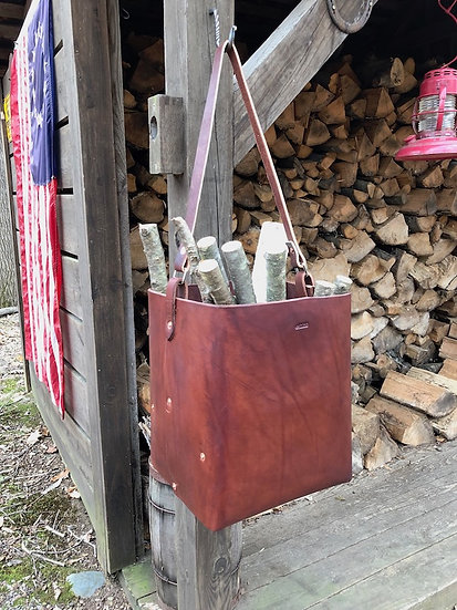Rustic Heavy-Duty Leather Tote (Medium)