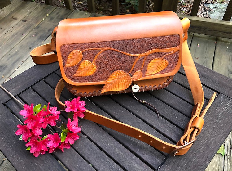 Custom Tooled Leather Shoulder Bag