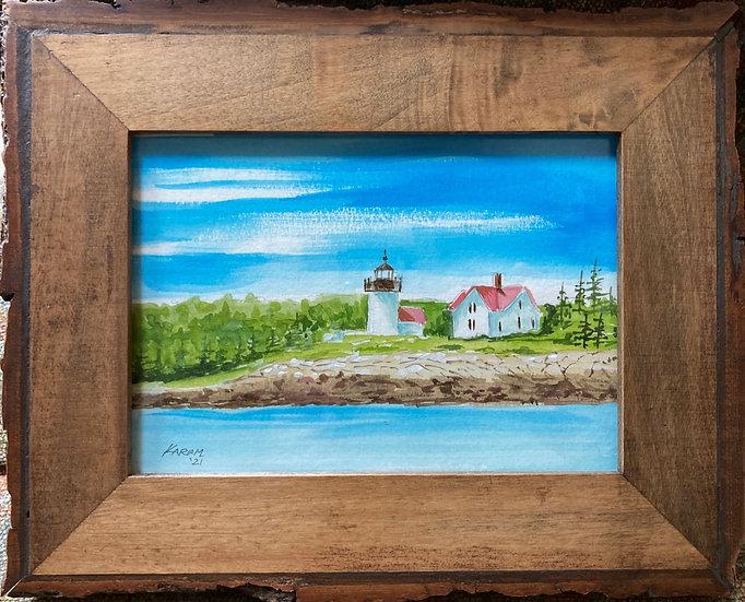 Watercolor Original of Curtis Island Lighthouse, Camden Maine