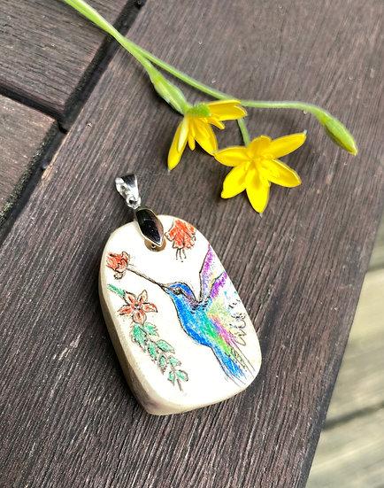 Hummingbird Painted Pendant