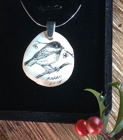 Chickadee on Winterberry branch Pendant