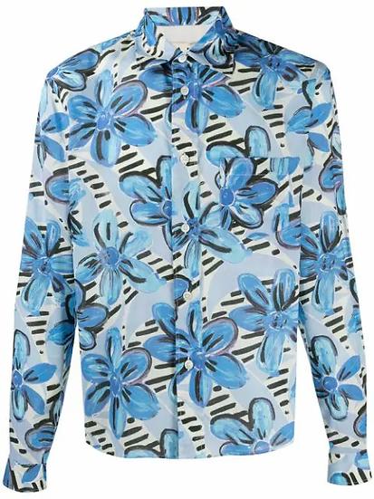 Marni - camisa motivo flores pintadas azul