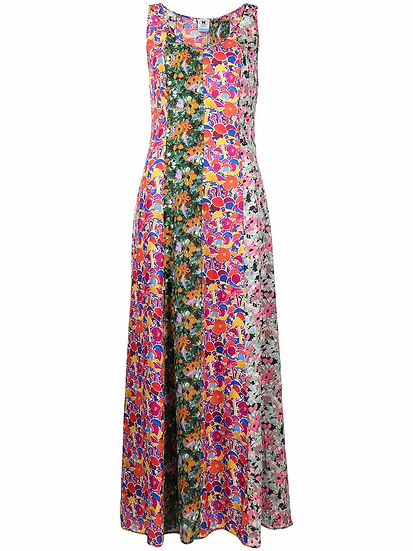 Floral print paneled dress