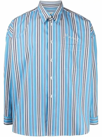 striped embroidered logo shirt