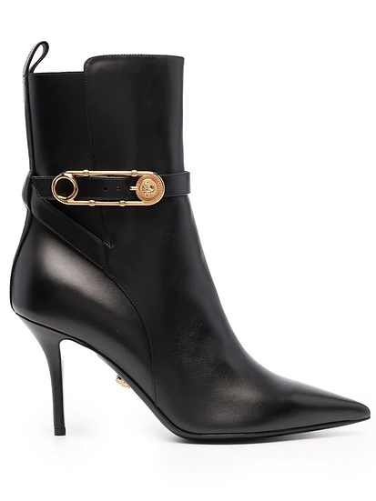 Versace - ankle boots with safety pin detail