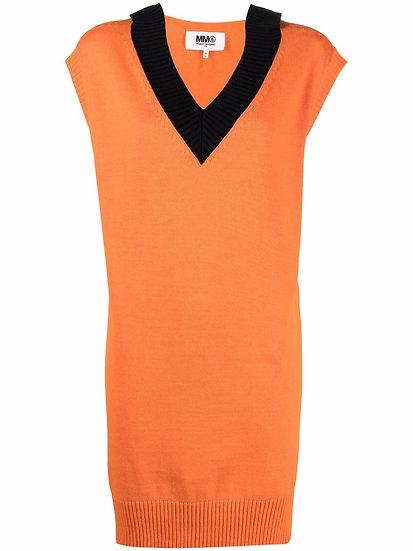 MM6 Maison Margiela - contrast collar knit dress