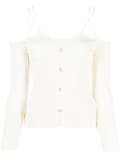 White off shoulder cardigan