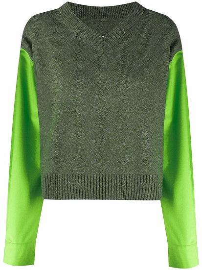 MM6 Maison Margiela - contrast-sleeve V-neck jumper