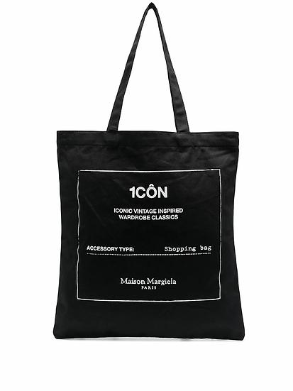 Black shopper bag with graphic print