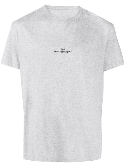 Gray embroidered logo T-shirt