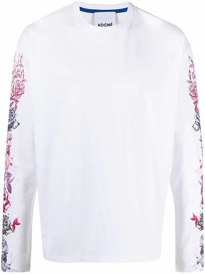 Long-sleeved sweatshirt with floral motif