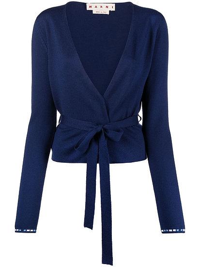 Blue tie waist cardigan