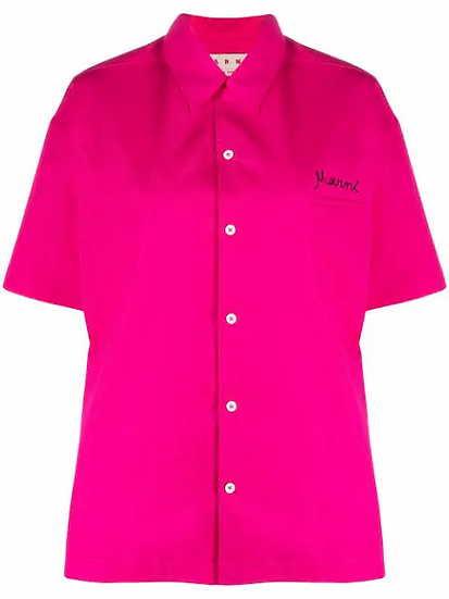 Fuchia embroidered logo shirt