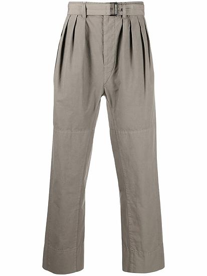 straight-leg pleated trousers