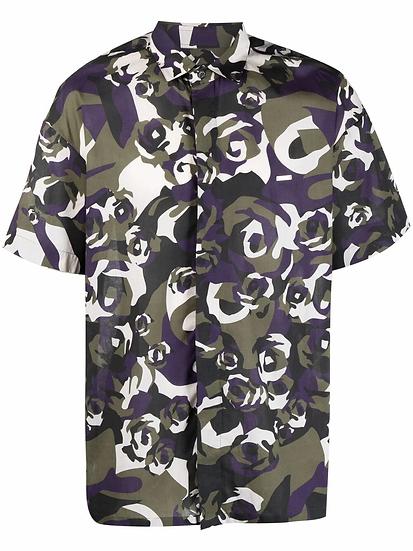 Les Hommes - military motif shirt