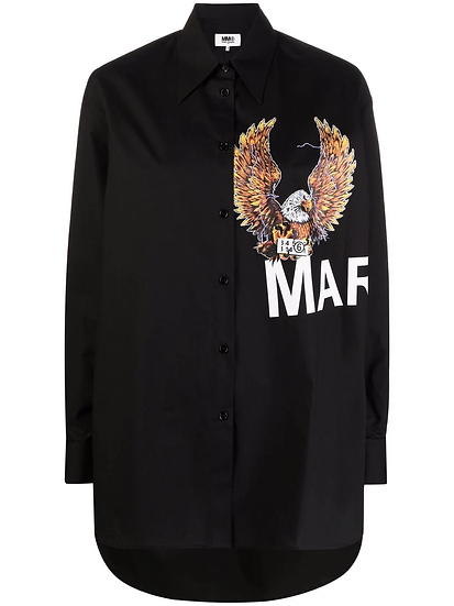 MM6 Maison Margiela - camisa de popelina con logo estampado