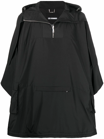 Les Hommes - chaqueta estilo poncho con capucha