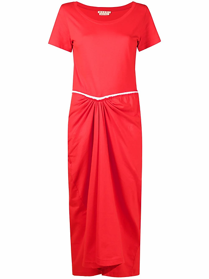 Ruched midi dress with slit