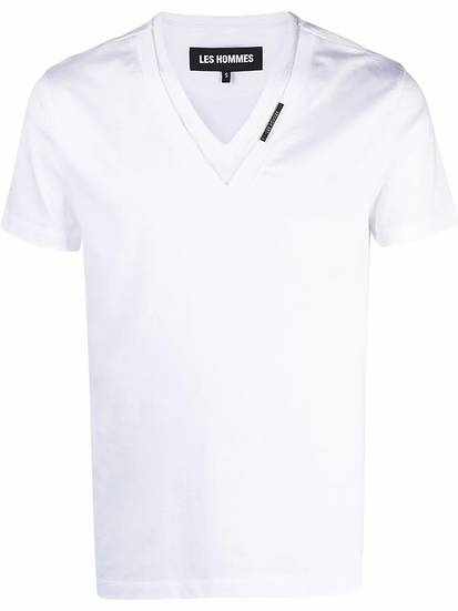 Les Hommes - t-shirt capas cuello V