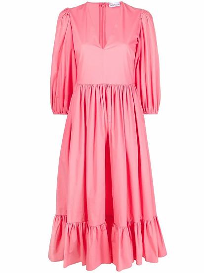 Red Valentino - vestido de popelina mangas abullonadas