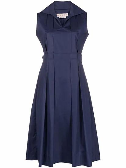 Poplin shirt dress with pleats