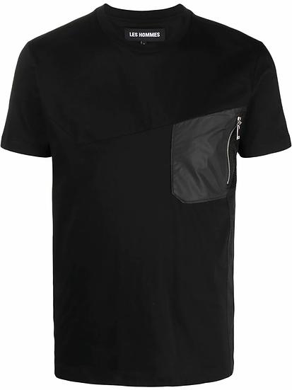 Les Hommes - paneled asymmetric t-shirt