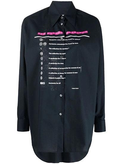 MM6 Maison Margiela - tied-back slogan print shirt