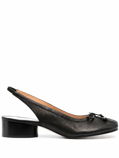 Black back strap shoes