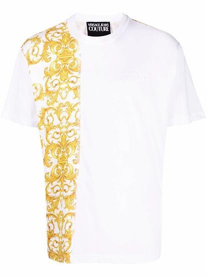 Baroque motif panel T-shirt