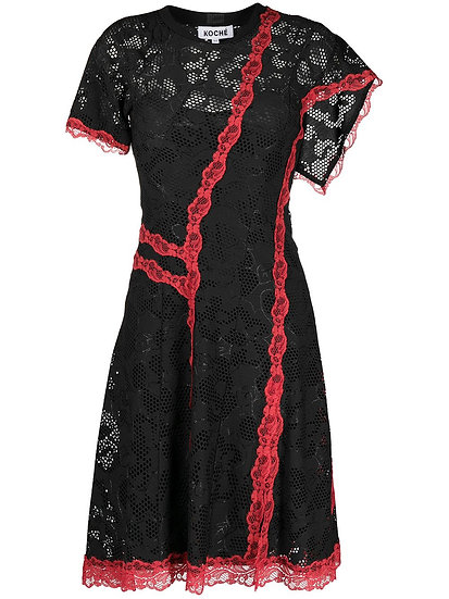 Asymmetric dress with lace