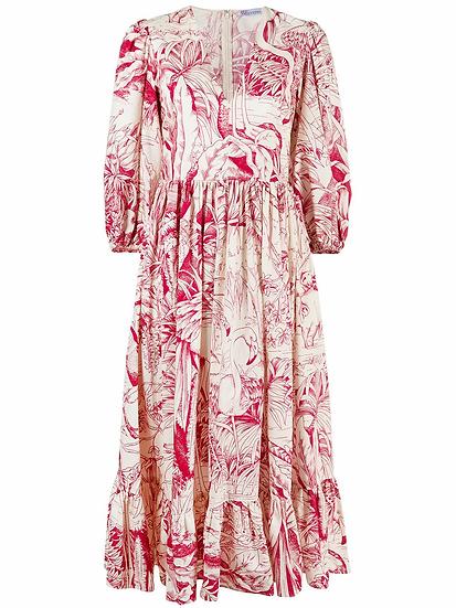 Red Valentino - vestido midi motivo selva