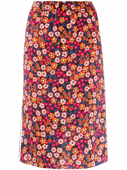 Straight skirt with floral print