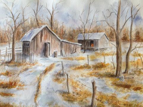 Rustic farm snowfall
