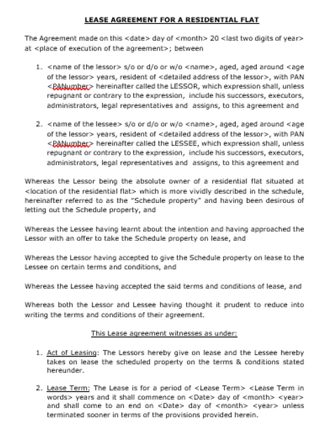 LEASE AGREEMENT BETWEEN TWO INDIVIDUALS FOR A RESIDENTIAL FLAT