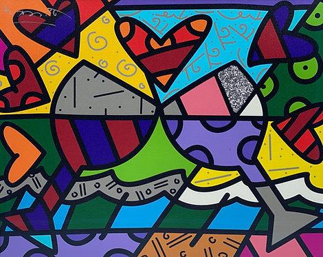 TOAST TO LOVE GLASSES - by Romero Britto