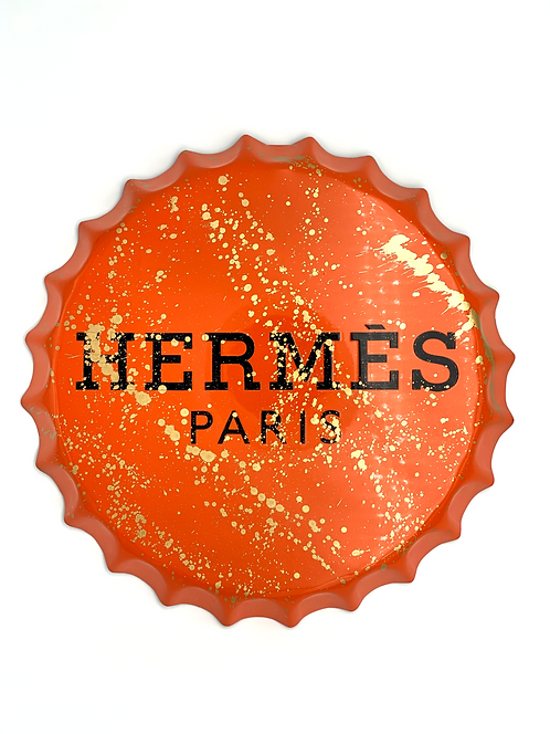 PARIS LOVES ORANGE - large bottle cap - by S2B