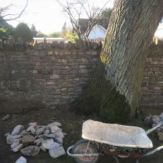 Stone wall restoration