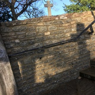 Church Bargate stone re-build of section of wall