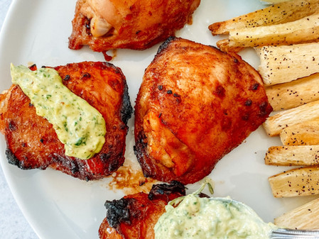 Peruvian Style Roasted Chicken with Green Sauce