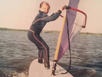First stept windsurfing Justyna Sniady